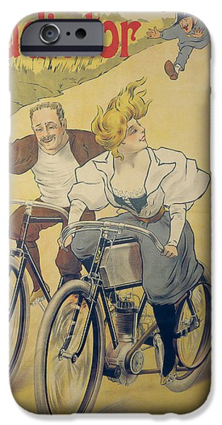 Cycles iPhone Cases - Poster Advertising Gladiator Bicycles And Motorcycles Colour Litho iPhone Case by Ferdinand Misti-Mifliez