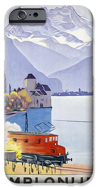 Switzerland Drawings iPhone Cases - Poster Advertising Rail Travel Around Lake Geneva iPhone Case by Emil Cardinaux