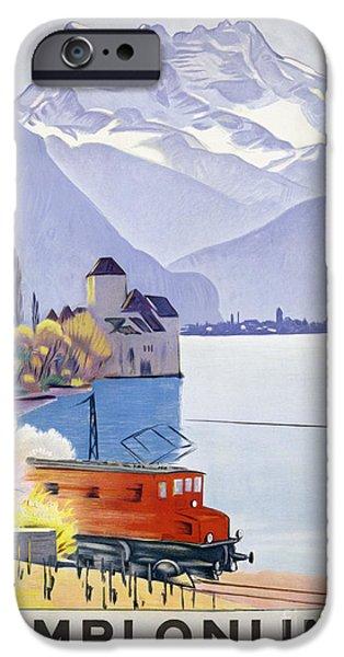 Poster Advertising Rail Travel Around Lake Geneva iPhone Case by Emil Cardinaux