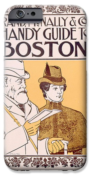 19th Century Drawings iPhone Cases - Poster Advertising Rand McNally and Cos Hand Guide to Boston iPhone Case by American School