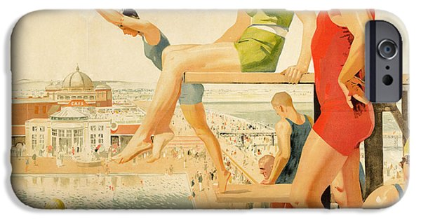 Bathing Paintings iPhone Cases - Poster advertising Sunny Rhyl  iPhone Case by Septimus Edwin Scott