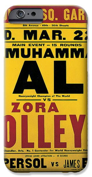 African-american Drawings iPhone Cases - Poster Advertising the Fight Between Muhammad Ali and Zora Folley In Madison Square Garden iPhone Case by American School