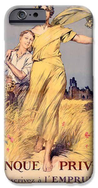 World War One iPhone Cases - Poster advertising the National Loan iPhone Case by Rene Lelong