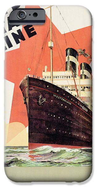 Maritime iPhone Cases - Poster Advertising the Red Star Line iPhone Case by Belgian School