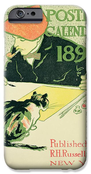 Self Portrait Photographs iPhone Cases - Poster Calendar, Pub. By R.h. Russell & Son, 1897 Colour Litho iPhone Case by Edward Penfield