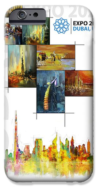 Business Paintings iPhone Cases - Poster Dubai Expo - 11 iPhone Case by Corporate Art Task Force