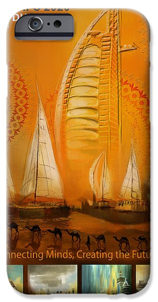 Business Paintings iPhone Cases - Poster Dubai Expo - 3 iPhone Case by Corporate Art Task Force