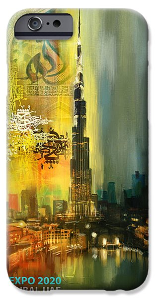 Business Paintings iPhone Cases - Poster Dubai Expo - 7 iPhone Case by Corporate Art Task Force