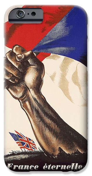 Liberation iPhone Cases - Poster for Liberation of France from World War II 1944 iPhone Case by Anonymous