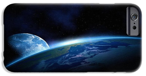 Screen Print iPhone Cases - Poster Moon iPhone Case by Victor Gladkiy