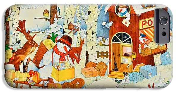 Winter Fantasy iPhone Cases - Postoffice-christmas, 2001 Wc On Paper iPhone Case by Christian Kaempf