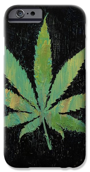 Trippy Paintings iPhone Cases - Pot Leaf iPhone Case by Michael Creese