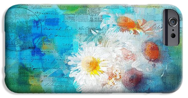 Floral Digital iPhone Cases - Pot of Daisies 02 - j3327100-bl1t22a iPhone Case by Variance Collections