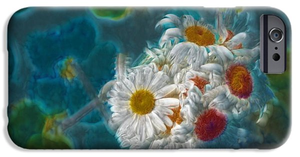 Floral Digital iPhone Cases - Pot of Daisies 02 - s11bl01 iPhone Case by Variance Collections