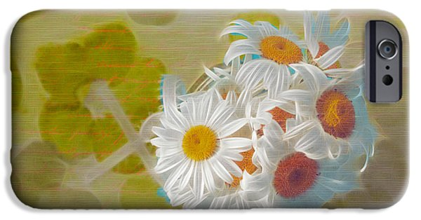Floral Digital iPhone Cases - Pot of Daisies 02 - s13ya iPhone Case by Variance Collections