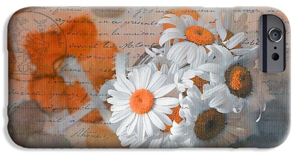 Orange Digital iPhone Cases - Pot of Daisies 02 - s3r-rngt1d iPhone Case by Variance Collections