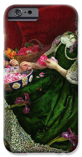 Basket iPhone Cases - Pot Pourri Oil On Canvas iPhone Case by Sir John Everett Millais