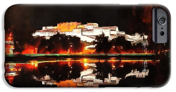 Tibetan Buddhism iPhone Cases - Potala Palace Night View iPhone Case by Mario Carini