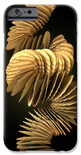 Wavy iPhone Cases - Potato Chip Stack Falling iPhone Case by Allan Swart