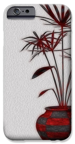 Red Leaf Digital Art iPhone Cases - Potted iPhone Case by Cheryl Young
