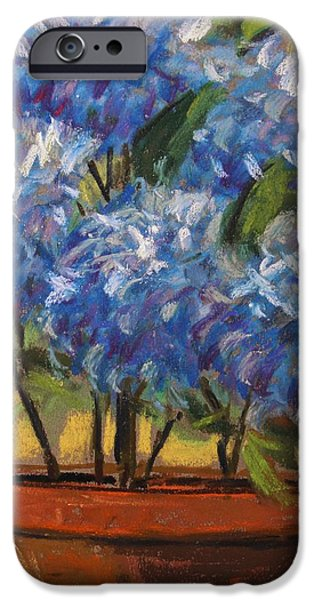 Jmw Pastels iPhone Cases - Potted Hydrangeas iPhone Case by John  Williams