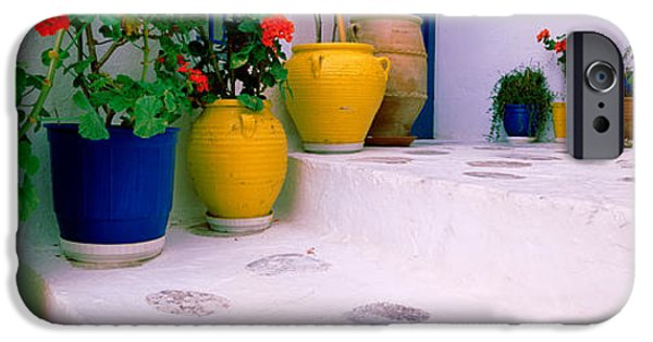 Model iPhone Cases - Potted Plants On Steps, Mykonos iPhone Case by Panoramic Images
