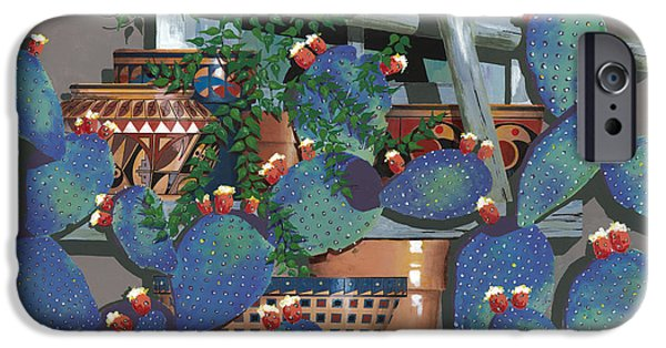 Pottery Paintings iPhone Cases - Pottery and Cactus iPhone Case by John Wyckoff