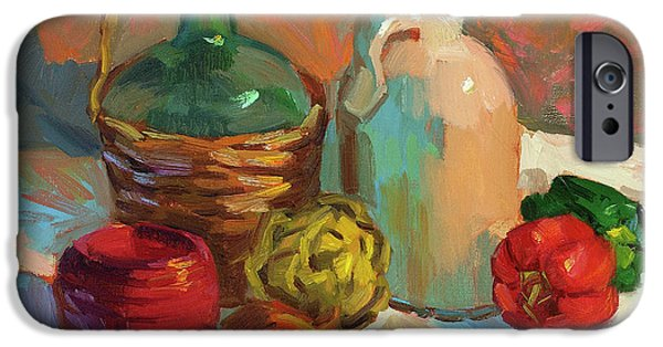 Pottery Paintings iPhone Cases - Pottery and Vegetables iPhone Case by Diane McClary