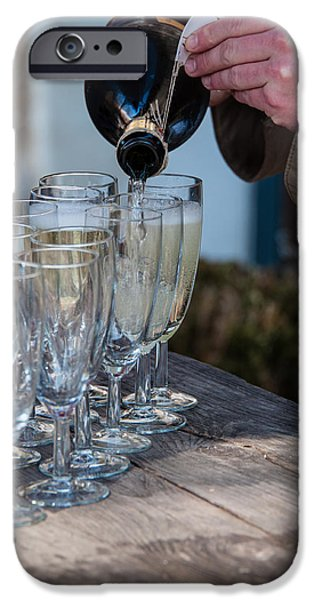 Prosecco iPhone Cases - Pouring Champagne iPhone Case by Frank Gaertner
