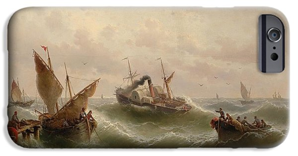 North Sea Paintings iPhone Cases - Pouring steamer in the North Sea in Gothenburg iPhone Case by Albert Rieger