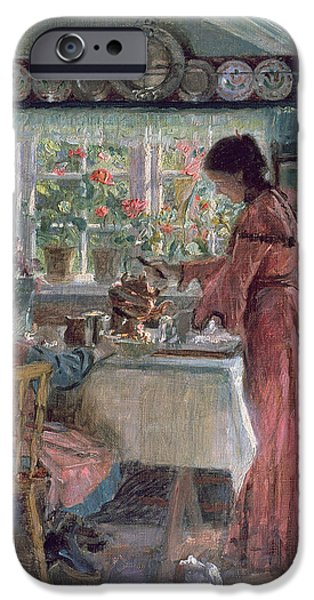 Interior Scene iPhone Cases - Pouring the Morning Coffee iPhone Case by Laurits Regner Tuxen