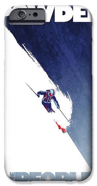 Ski Art iPhone Cases - Powder to the People iPhone Case by Sassan Filsoof