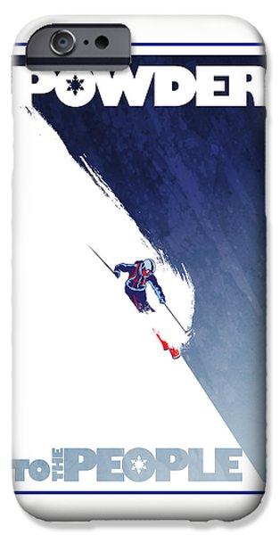 Skiing Posters Paintings iPhone Cases - Powder to the People iPhone Case by Sassan Filsoof