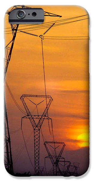 Electrical iPhone Cases - Power Lines at Sunset iPhone Case by David and Carol Kelly