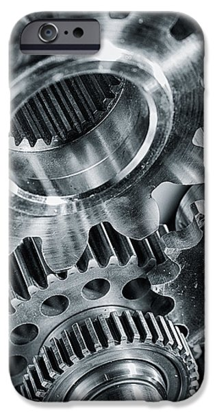 Stainless Steel iPhone Cases - Power Gears And Cogwheels Enginnering And Technology iPhone Case by Christian Lagereek