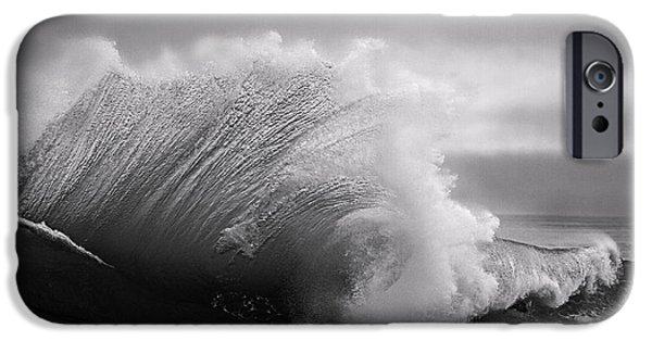 iPhone Cases - Power in the Wave BW By Denise Dube iPhone Case by Denise Dube