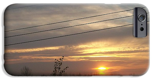 Power Pyrography iPhone Cases - Power line Sunset iPhone Case by Roxanne Butler