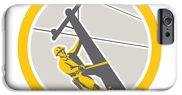 Telephone Repairman iPhone Cases - Power Lineman Repairman Climbing Pole Circle iPhone Case by Aloysius Patrimonio