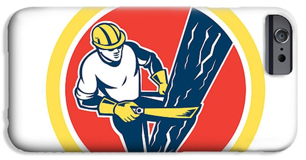 Telephone Repairman iPhone Cases - Power Lineman Repairman Harness Climbing Circle iPhone Case by Aloysius Patrimonio