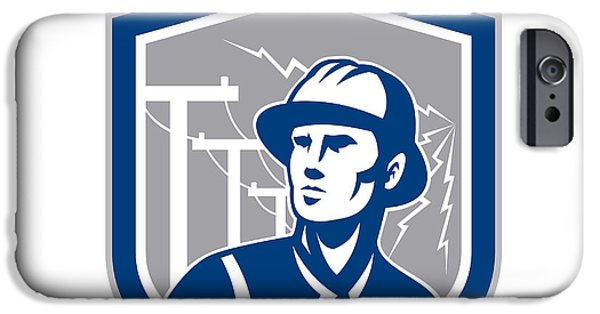 Telephone Repairman iPhone Cases - Power Lineman Repairman Shield Retro iPhone Case by Aloysius Patrimonio
