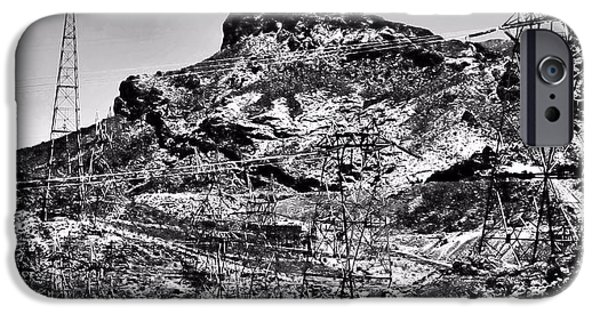 Power iPhone Cases - Power Lines at Hoover Dam Nevada iPhone Case by Tommi Trudeau