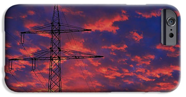 Power iPhone Cases - Power Lines At Sunset Germany iPhone Case by Panoramic Images