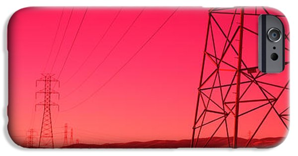 Power iPhone Cases - Power Lines In The Valley, Central iPhone Case by Panoramic Images