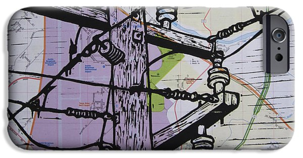 Linoluem Drawings iPhone Cases - Power Lines on Map iPhone Case by William Cauthern