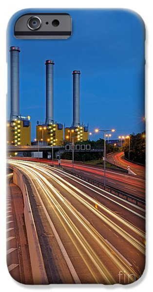 Night Lamp iPhone Cases - Power Plant And Freeway, Berlin iPhone Case by Ingo Schulz