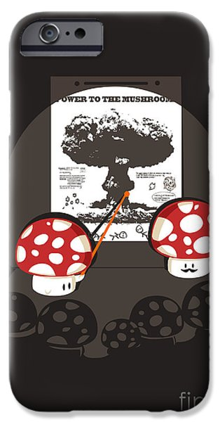 Mushrooms iPhone Cases - Power to the mushroom iPhone Case by Budi Kwan