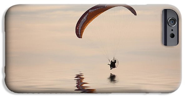 Glider iPhone Cases - Powered paraglider iPhone Case by John Edwards