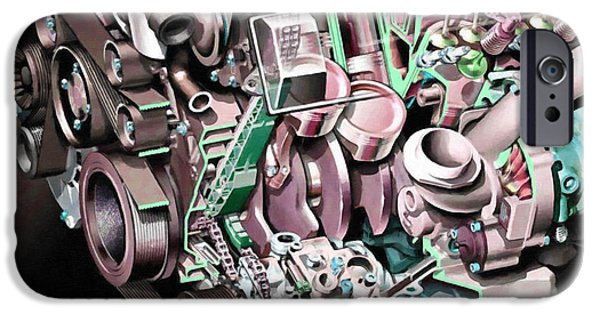 Component Paintings iPhone Cases - Powerful car engine  iPhone Case by Lanjee Chee