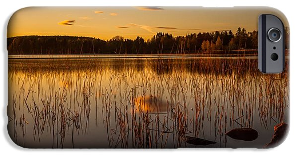 Sunset In Norway iPhone Cases - Powerful peace iPhone Case by Rose-Maries Pictures