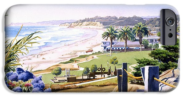 California Beach iPhone Cases - Powerhouse Beach Del Mar Blue iPhone Case by Mary Helmreich